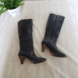 UO 7 black/brown retro leather gold buckle boots